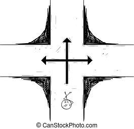 dessin animé, carrefour, homme, prise décision, debout, sur, ou, homme affaires, avenir, vecteur, illustration