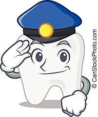 dessin animé, chapeau, porter, officier, dent, bleu, police, dessin