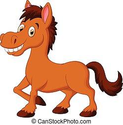 dessin animé, cheval, mignon, brun