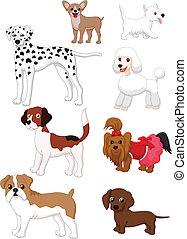 dessin animé, chien, collection