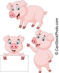 dessin animé, collection, cochon