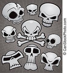 dessin animé, collection, crâne