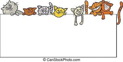 dessin animé, conception, chats, cadre