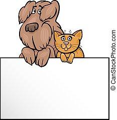 dessin animé, conception, chien, carte, chat