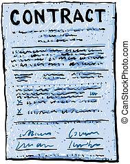 dessin animé, contrat