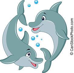 dessin animé, couple, dauphin, mignon