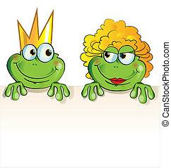 dessin animé, couple, grenouille