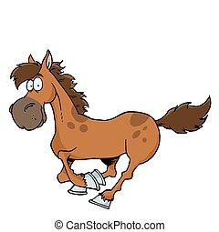 dessin animé, courant, cheval