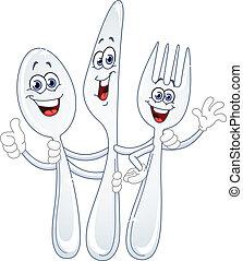 dessin animé, couteau, cuillère, fourchette