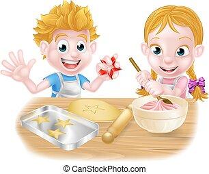 dessin animé, cuisson, enfants