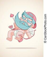 dessin animé, cupidon, barbe