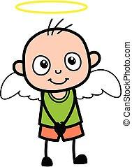 dessin animé, déguisement, chauve, garçon, ange
