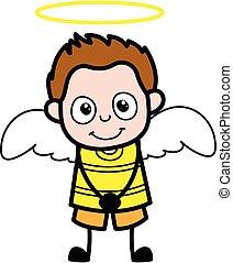 dessin animé, déguisement, jeune garçon, ange