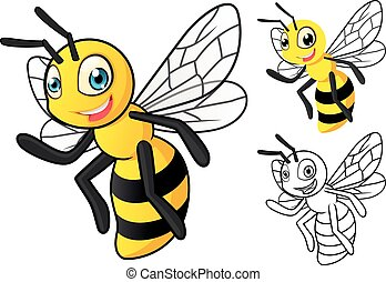 dessin animé, détaillé, abeille miel
