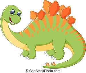 dessin animé, dinosaure, mignon