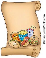 dessin animé, divers, repas, parchemin