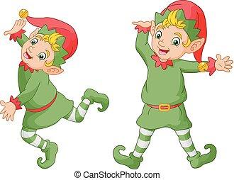 dessin animé, elfes, noël