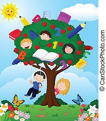 dessin animé, enfants jouer, appl
