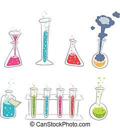 dessin animé, ensemble, chimie