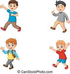 dessin animé, ensemble, collection, garçons