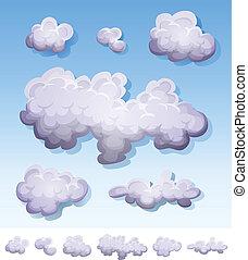 dessin animé, ensemble, nuages, fumée, brouillard