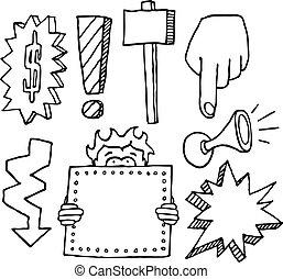 dessin animé, ensemble, vente, élément