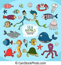 dessin animé, ensemble, vie, hand-drawn, mer