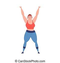 dessin animé, excès poids, fond, crise, dodu, sport, processus, exercice, perte pondérale, vecteur, girl, femme, illustration, jeune, obtenir, blanc