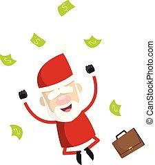 dessin animé, excitation, simple, sauter, -, santa, argent