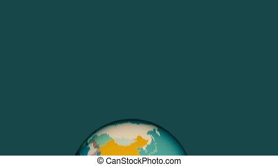 dessin animé, faire boucle, rotation, coloré, alpha, animation, la terre, rebondir, planète