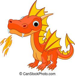 dessin animé, feu dragon