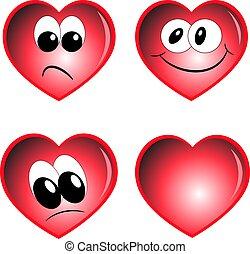dessin animé, figure, vecteur, ensemble, cœurs, illustration