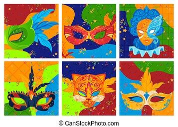 dessin animé, fond, conception, mascarade, illustration., ensemble, texture, décoration, masque, carnaval, vecteur, style, clair, fête