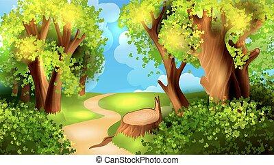 dessin animé, fond, forêt