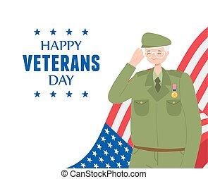 dessin animé, forces, heureux, drapeau, soldat, militaire, nous, armé, jour, caractère, vétérans