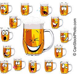dessin animé, frais, grande tasse bière