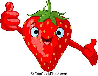 dessin animé, fraise, gai, charac