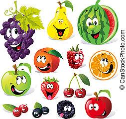 dessin animé, fruit, rigolote