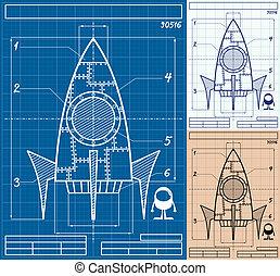 dessin animé, fusée, plan