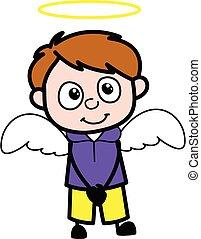 dessin animé, garçon, costume ange