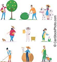 dessin animé, gens, légumes, caractères, croissance, vecteur, ouvriers, heureux, jardiniers, agriculture, farmers.