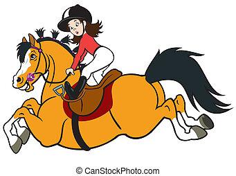 dessin animé, girl, équitation