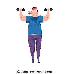 dessin animé, graisse, excès poids, type, fond, crise, processus, perte pondérale, dumbbells, vecteur, homme, exercice, illustration, jeune, obtenir, blanc