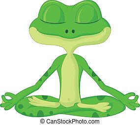 dessin animé, grenouille, yoga