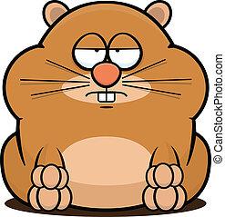 dessin animé, hamster, fatigué