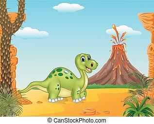 dessin animé, heureux, dinosaure