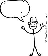 dessin animé, homme bâton