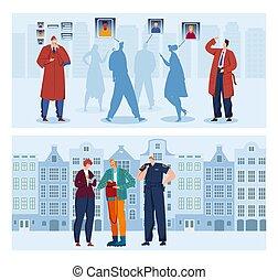 dessin animé, homme, conception, espion, police, surveillance, illustration., crime, homme, agent, détective, investigation, vecteur, style, détective