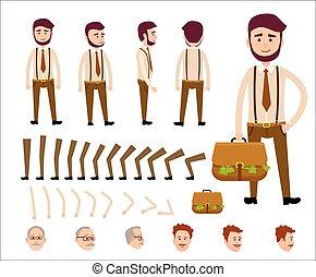 dessin animé, homme, isolé, illustration, constructeur