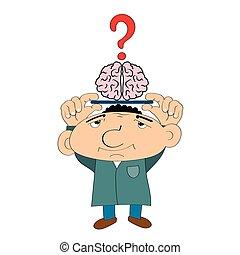dessin animé, homme, plateau, cerveau, illustration